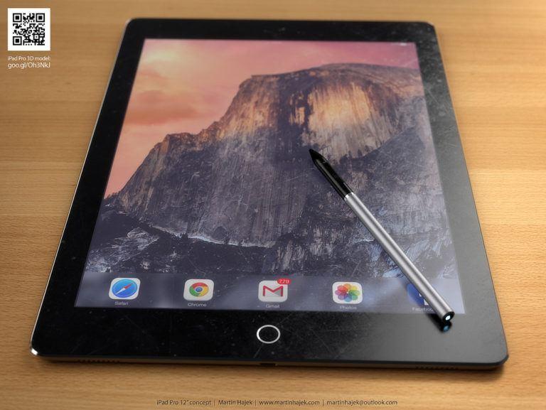 12 inç iPad Pro ve Stylus Kalemi İçin Konsept Tasarım