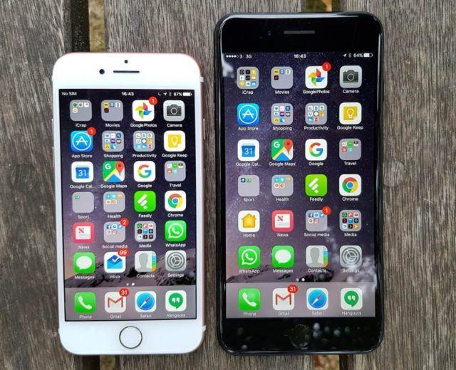 Solda iPhone 7 sağda ise iPhone 7 Plus (Resim: Gordon Kelly tarafından çekilmiş)