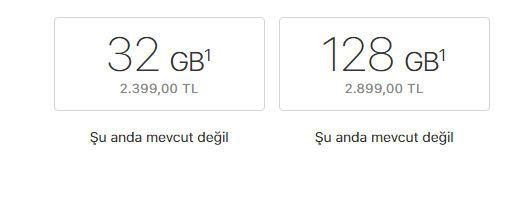 32 GB ve 128 gb iphone se