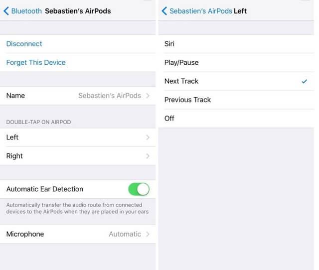 iOS 11 AirPods özelleştirme