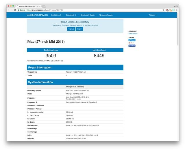 Geekbench 4 benchmark testi sonuçları
