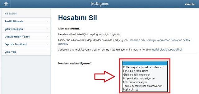 instagram hesabini sil