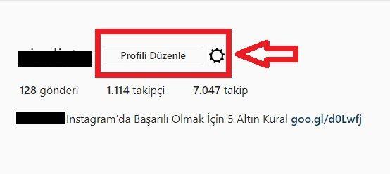 instagram profili duzenle