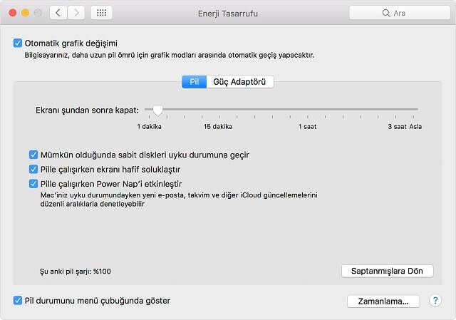 MacBook Enerji Tasarrufu