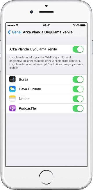 iphone ipad arka planda uygulama yenile