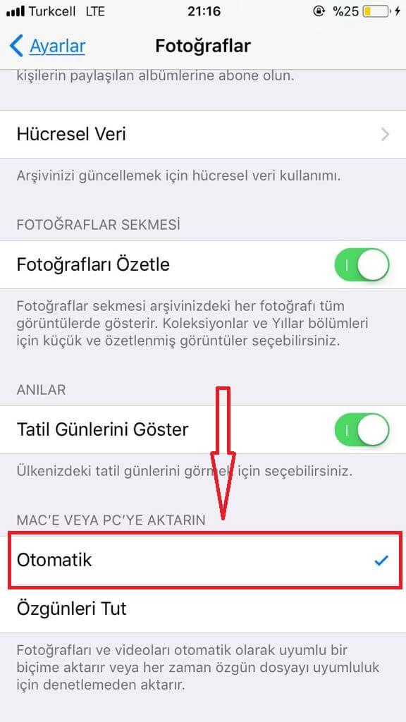 iOS 11 Fotograf Ayarlari