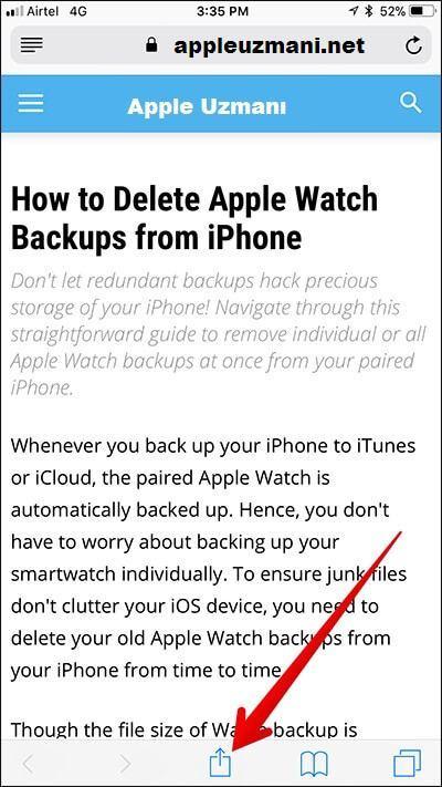 iPhone Safari paylas