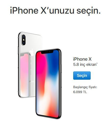 iPhone X baslangic fiyati