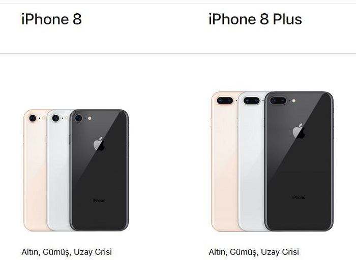 iPhone 8 ve iPhone 8 Plus renk secenekleri