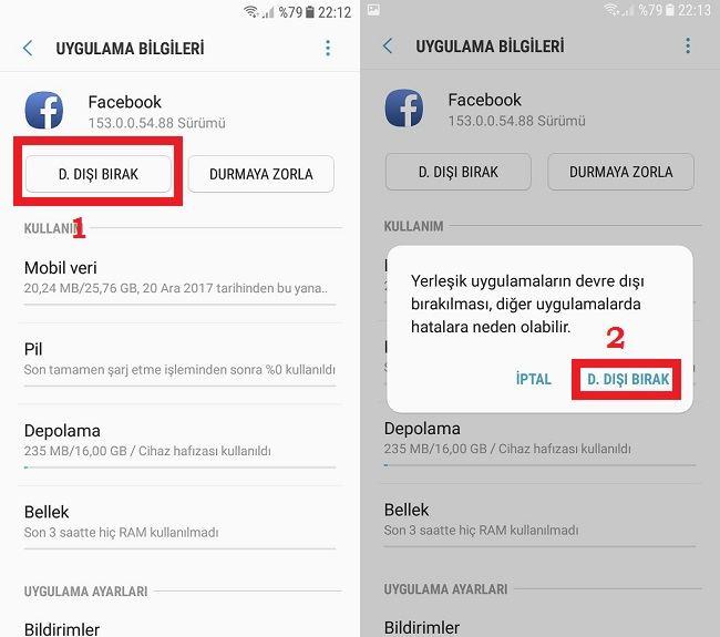 Android uygulama devre dışı bırakma