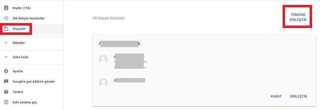 Gmail ayni kisileri birlestirme
