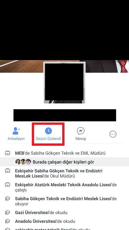 facebook geçici gizlendi