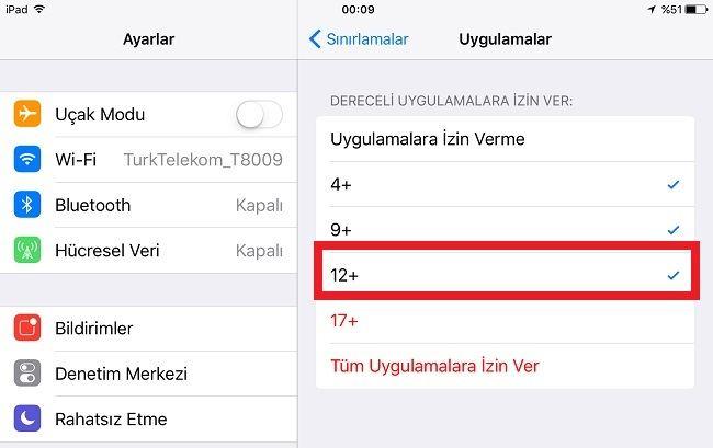 iPhone Sınırlamalar Uygulamalar