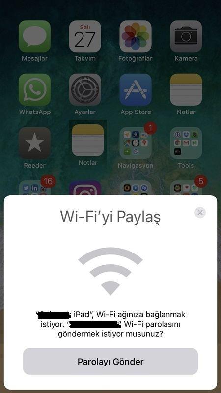 iPhone WiFi paylas
