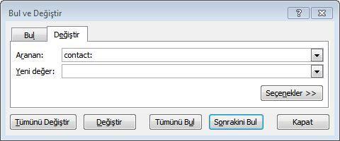 Excel Bul ve Değiştir