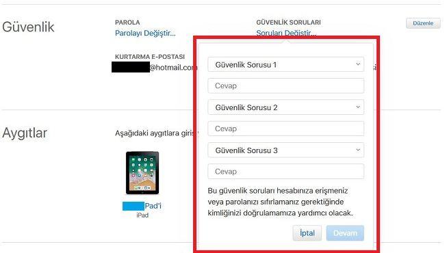 Apple Kimliği Güvenlik Sorularını Değiştirme