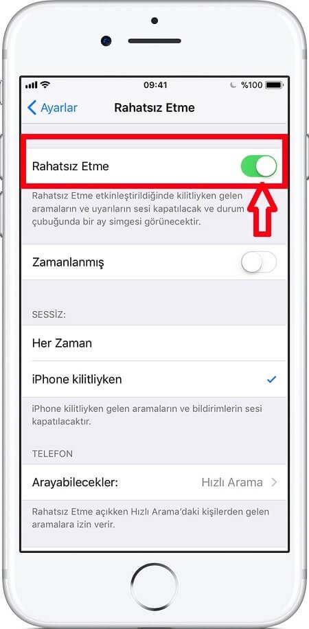 iPhone Rahatsız Etme Açma Kapatma