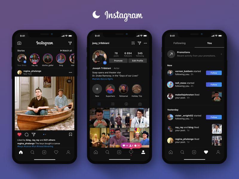 Instagram iOS karanlık mod