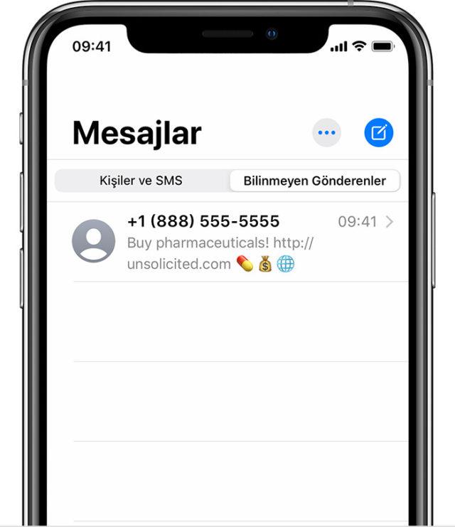 iPhone spam mesaj engelleme