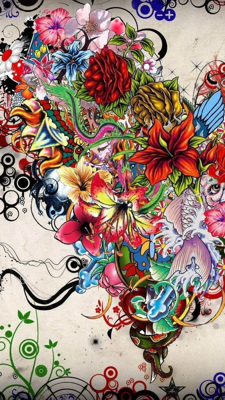 Abstract Flowers Tattoo Illustration iPhone 6 Wallpaper
