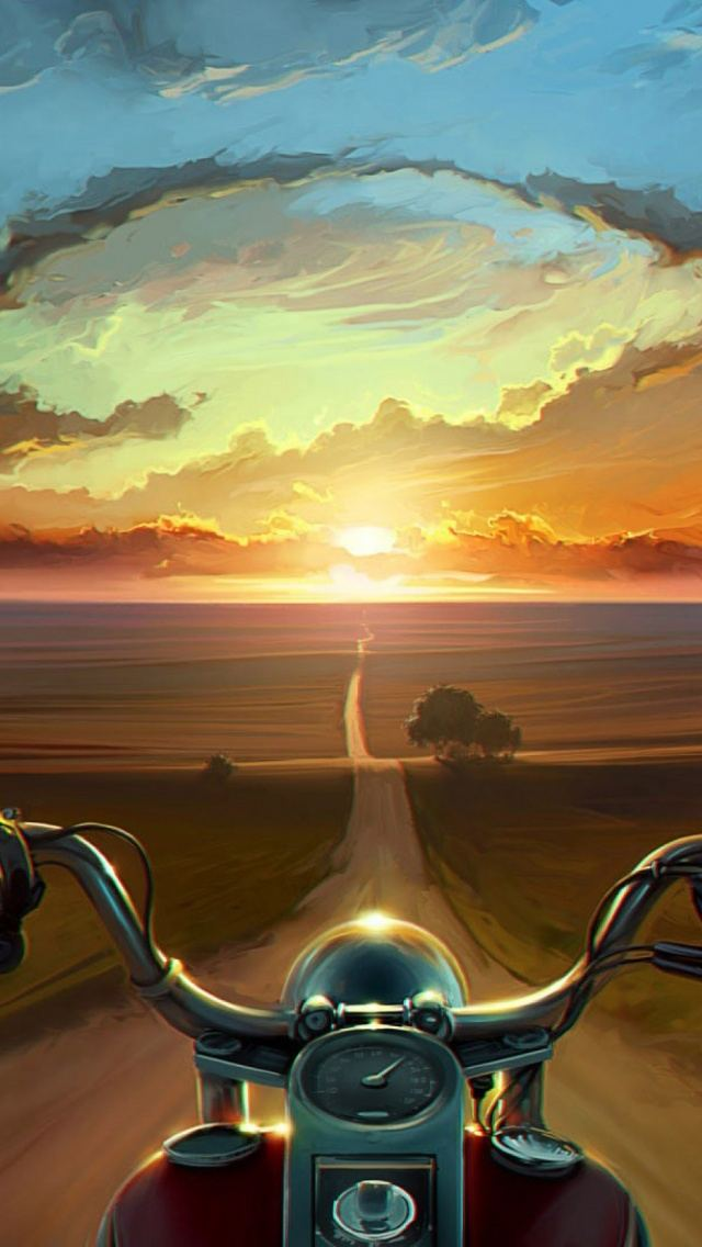 Bike Riding Into Sunset Canvas Painting iPhone 5 Wallpaper