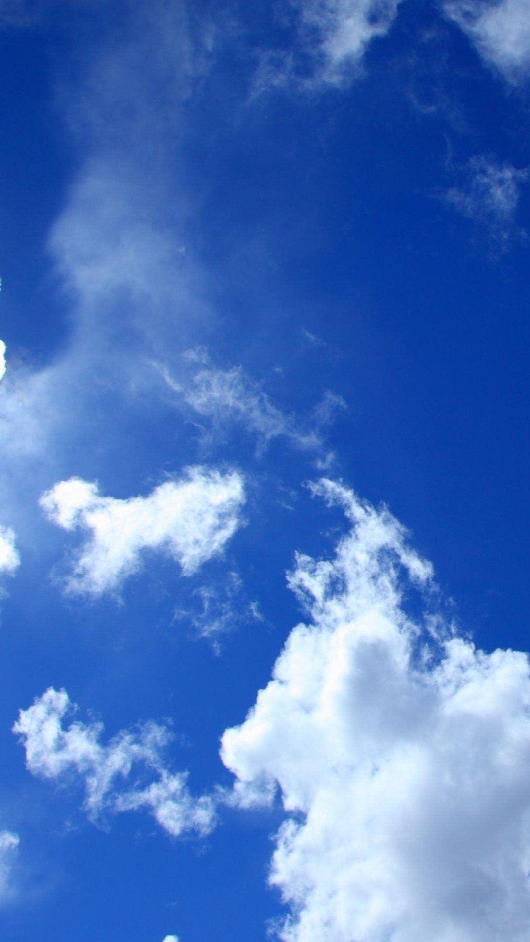 Blue Sky White Clouds Lockscreen iPhone 6 Plus HD Wallpaper