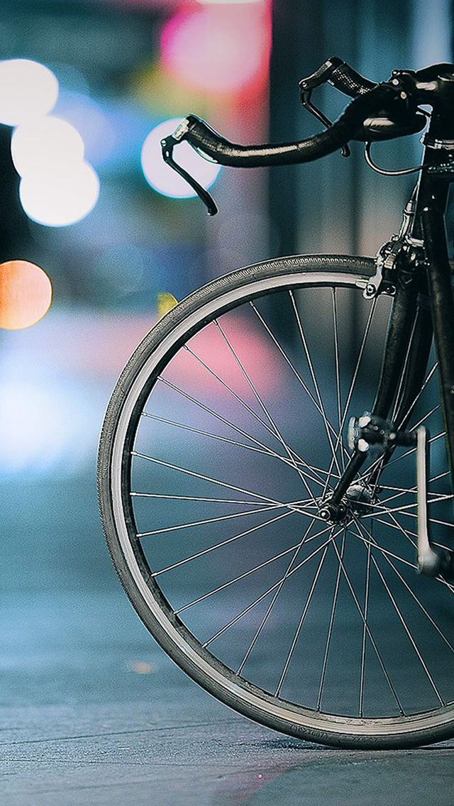 City Speed Bicycle Bokeh Lights Background iPhone 5 Wallpaper