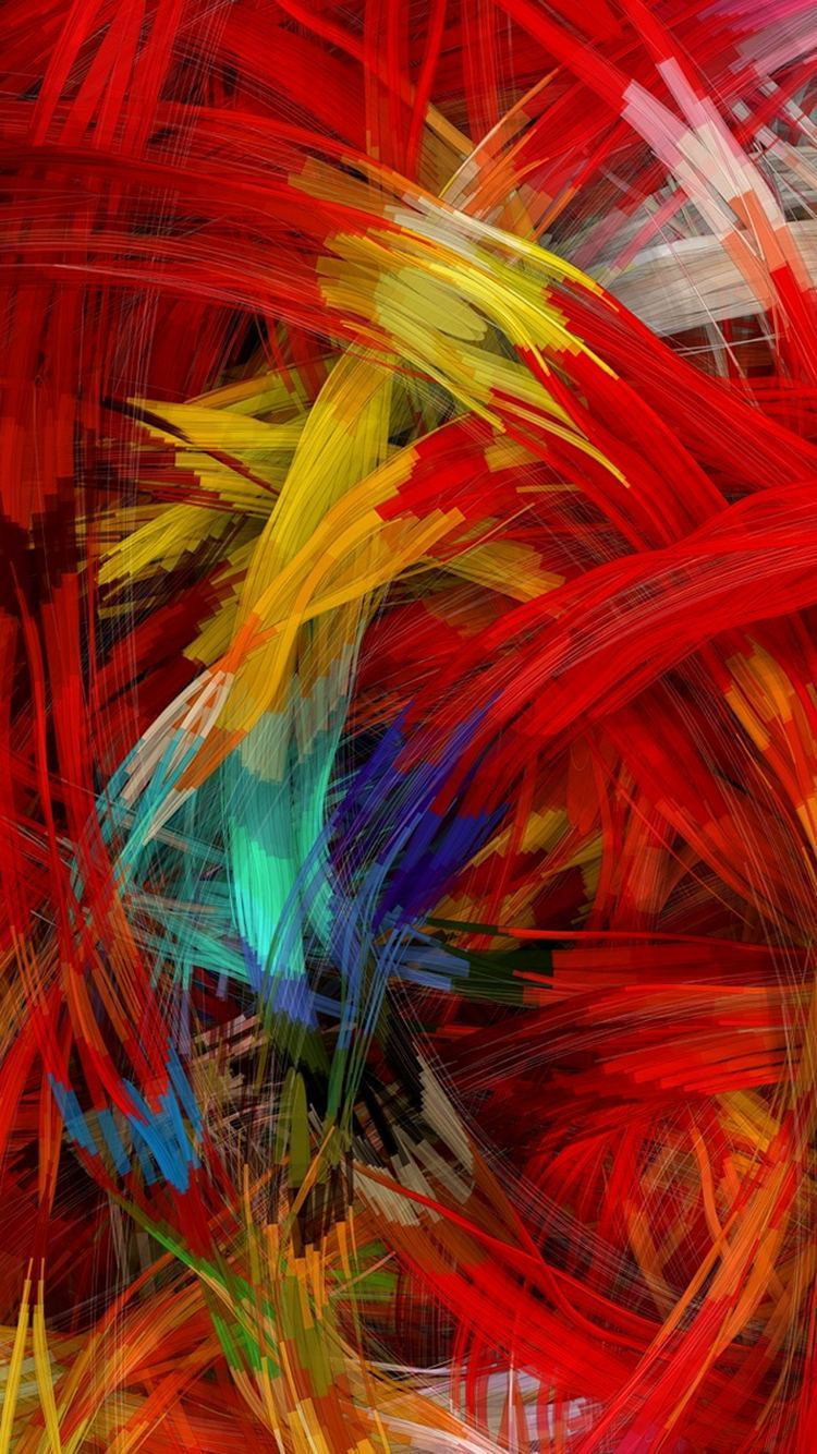 Colorful Digital Painting Strokes iPhone 6 Wallpaper