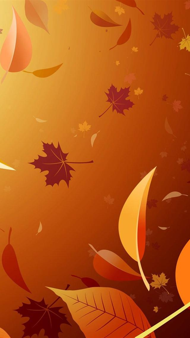 Falling Autumn Leaves Illustration iPhone 5 Wallpaper