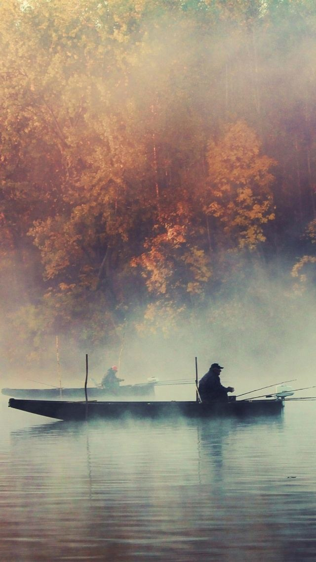 Fishing Boat Foggy Lake Autumn Landscape iPhone 5 Wallpaper