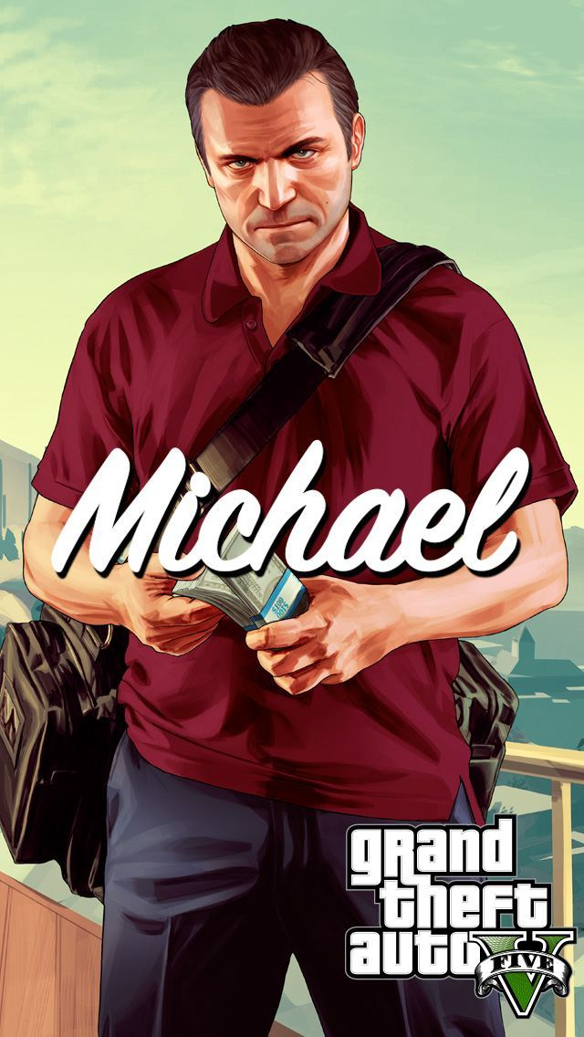 GTA 5 Michael with Money Bag iPhone 5 Wallpaper