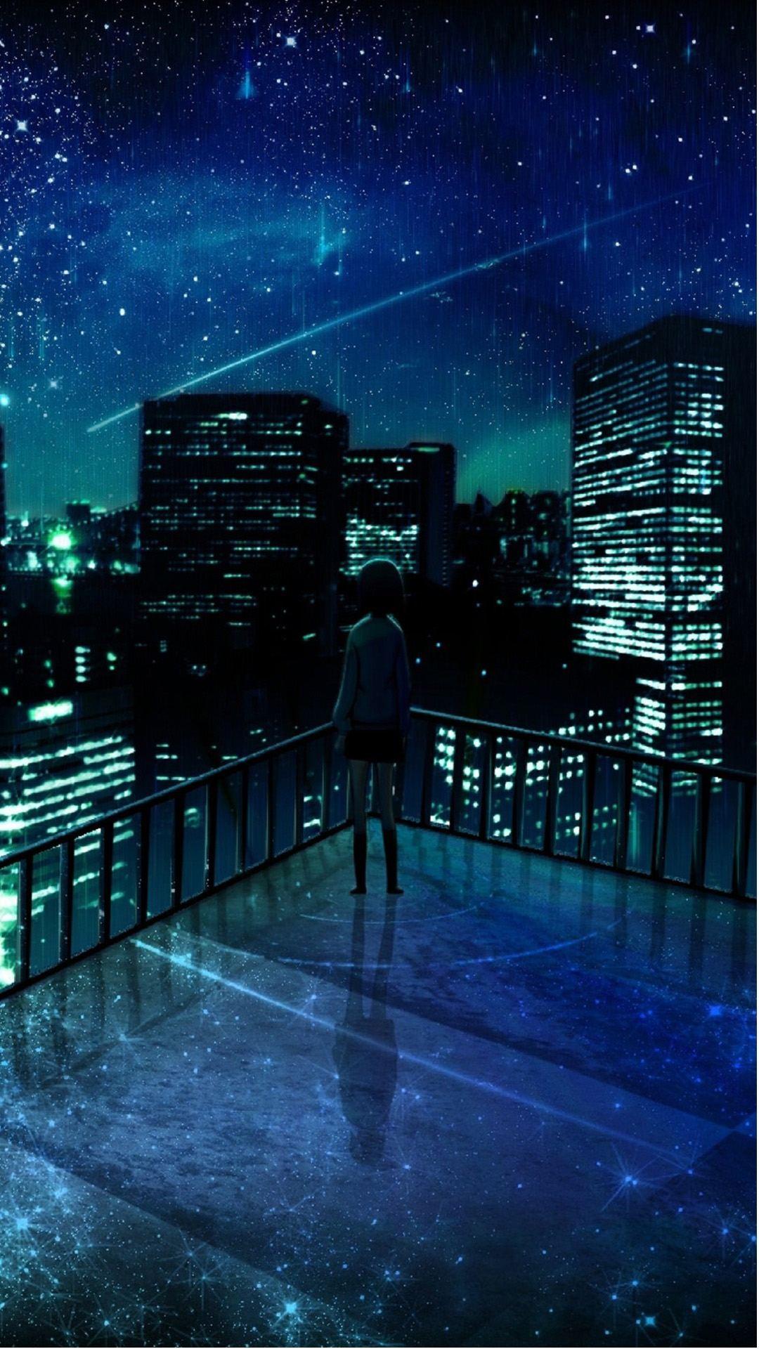 Girl Looking At Falling Star iPhone 6 Plus HD Wallpaper (1)