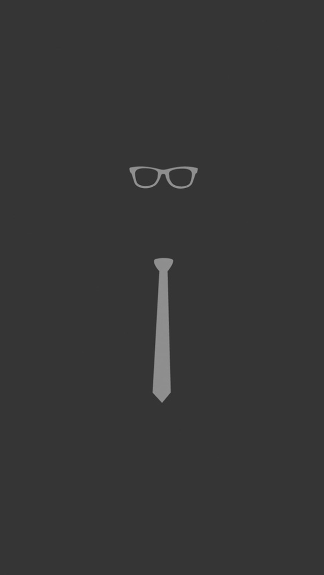 Glasses And Tie Simple Flat Illustration iPhone 5 Wallpaper