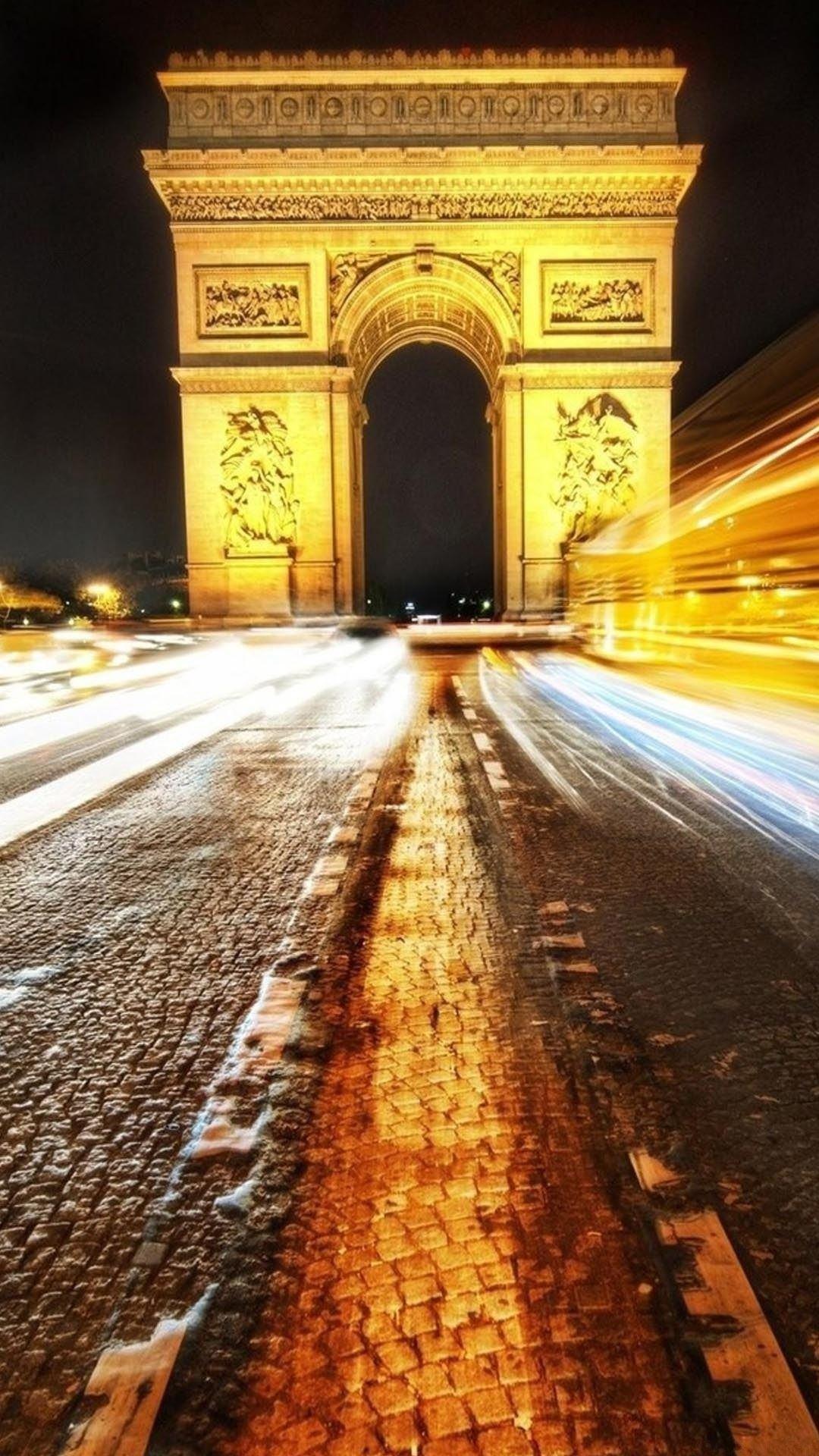 Long Exposure Arc De Triomphe Paris iPhone 6 Plus HD Wallpaper