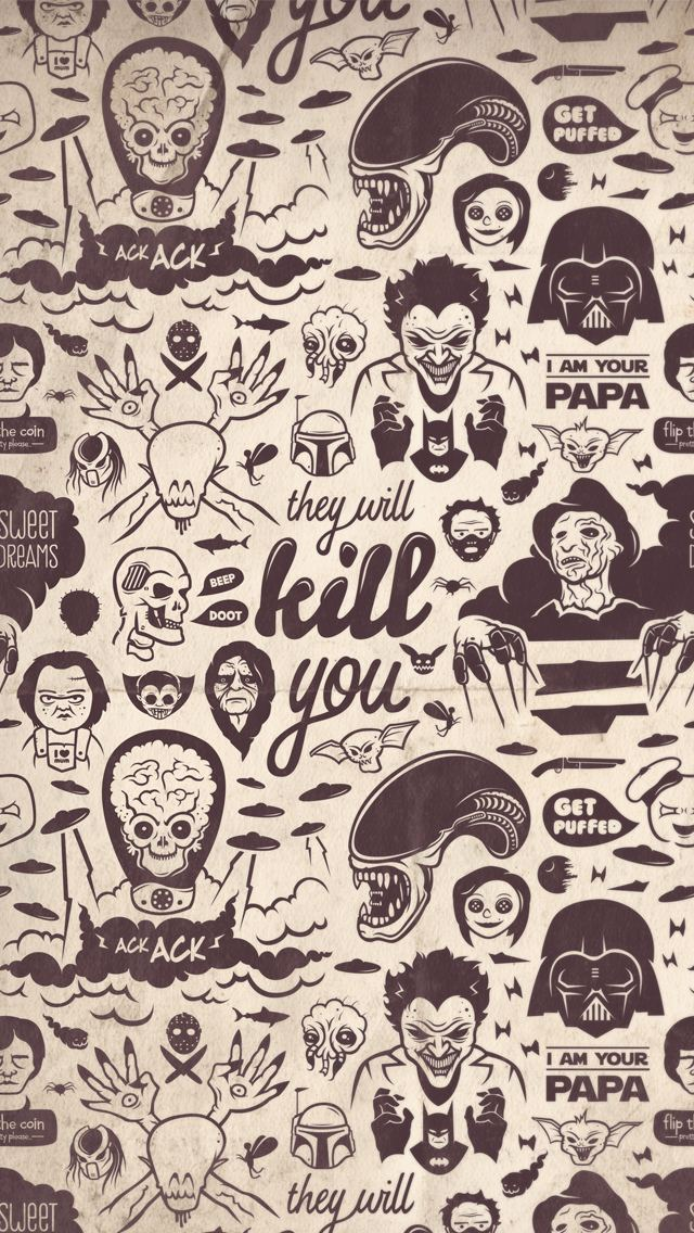 Movie Villains Collection They Will Kill You iPhone 5 Wallpaper