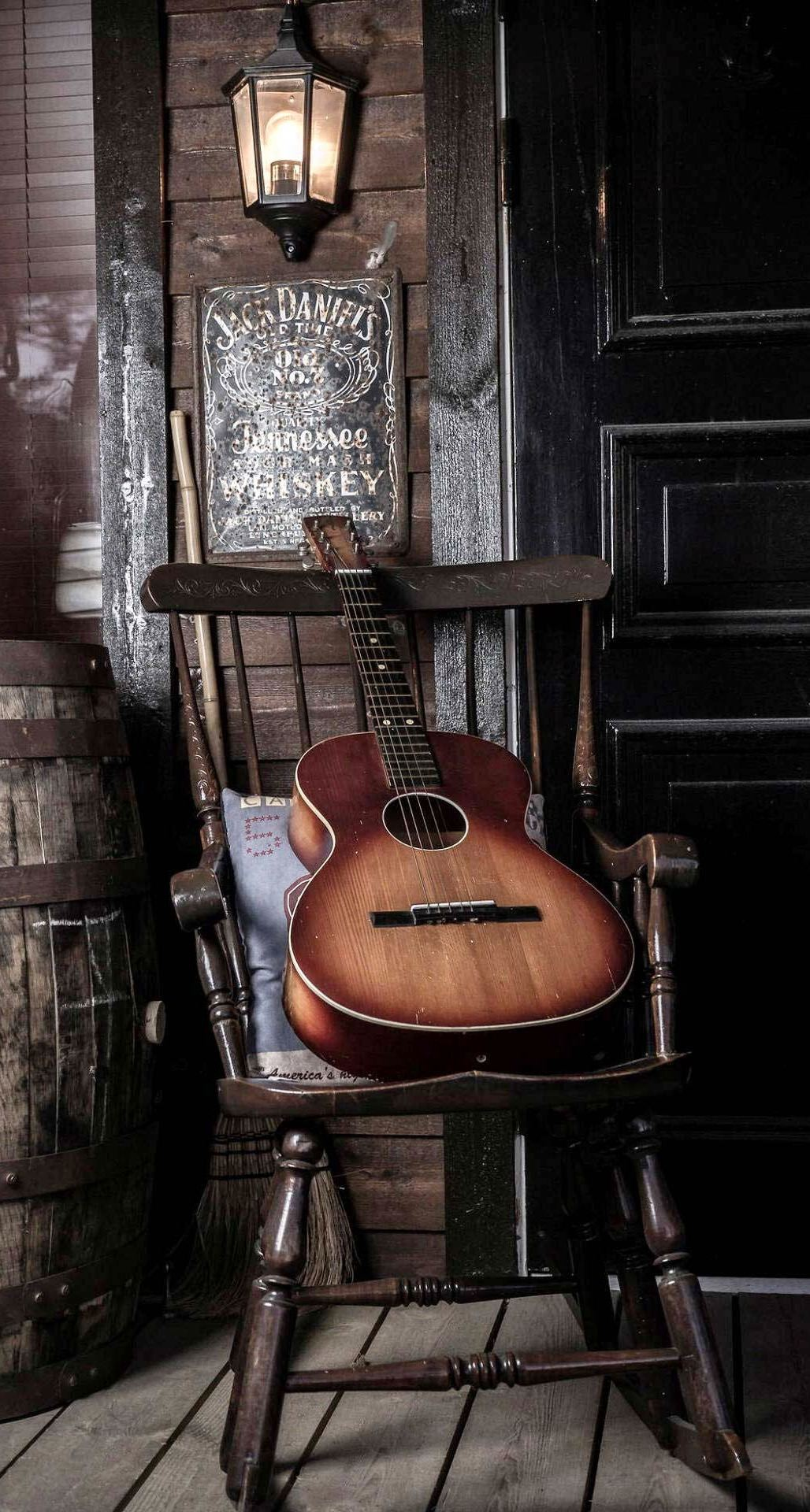 Old Guitar On Chair iPhone 6 Plus HD Wallpaper